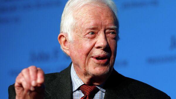 Former President Jimmy Carter speaks during a forum at the John F. Kennedy Presidential Library and Museum in Boston, Thursday, Nov. 20, 2014 - Sputnik Mundo