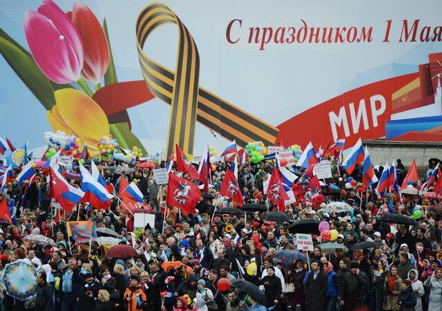 Arranca en Moscú la marcha de los sindicatos dedicada al 1 de mayo