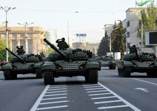 Ensayo de la Parada de la Victoria en Donetsk