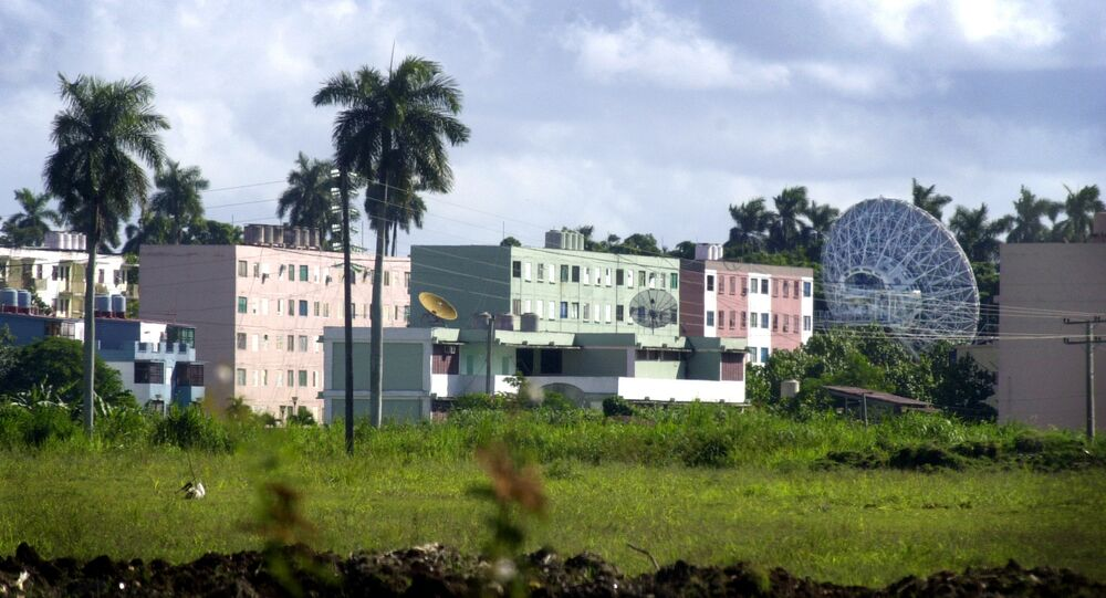 A Russian radar station is seen in Lourdes, about 12 miles south of Havana, Cuba Wednesday Oct. 17, 2001.