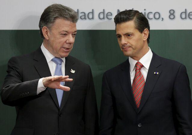 Presidente de Colombia, Juan Manuel Santos, y presidente de México, Enrique Peña Nieto