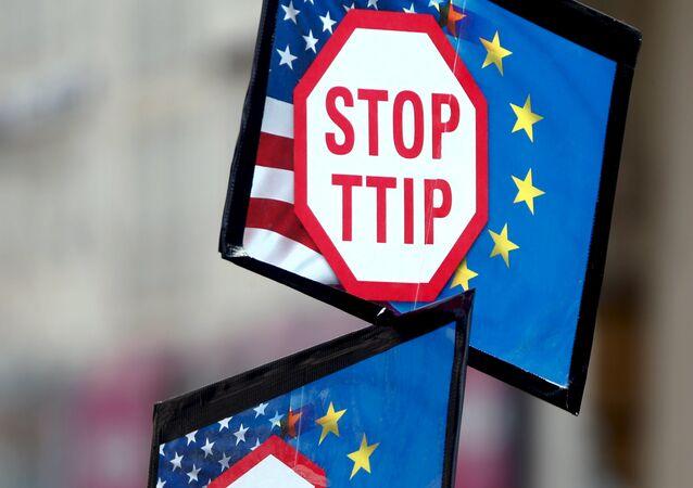 Una manifestación contra el acuerdo TTIP en Alemania (archivo)