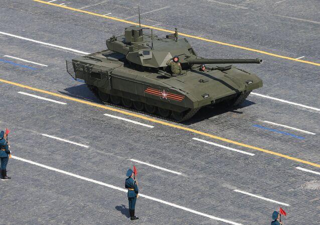 Carro de combate Armata durante el Desfile de la Victoria en la Plaza Roja