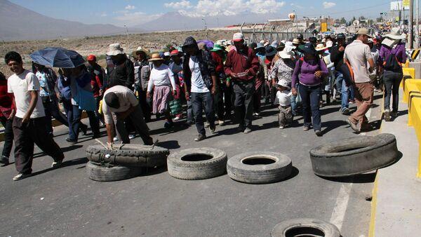 Manifestación de protesta en Perú - Sputnik Mundo