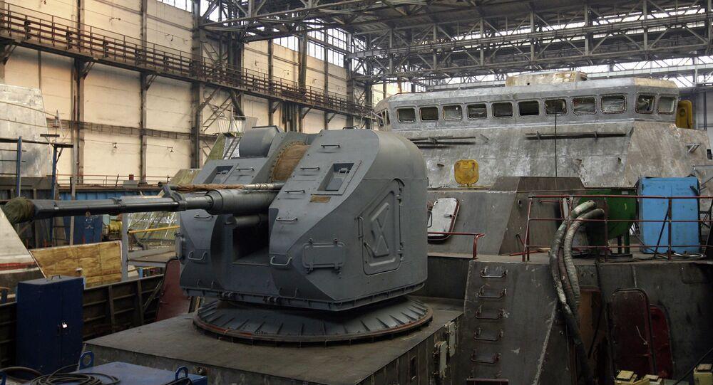 Construcción de la fragata del proyecto 3.9 Gepard en el astillero ruso de Zelenodolsk (archivo)