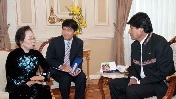 El presidente Evo Morales en reunión con la vicepresidenta de la República de Vietnam Nguyen Thi Doan, en Palacio de Gobierno - Sputnik Mundo