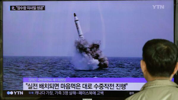 Ensayo de un misil balístico de Corea del Norte (archivo) - Sputnik Mundo