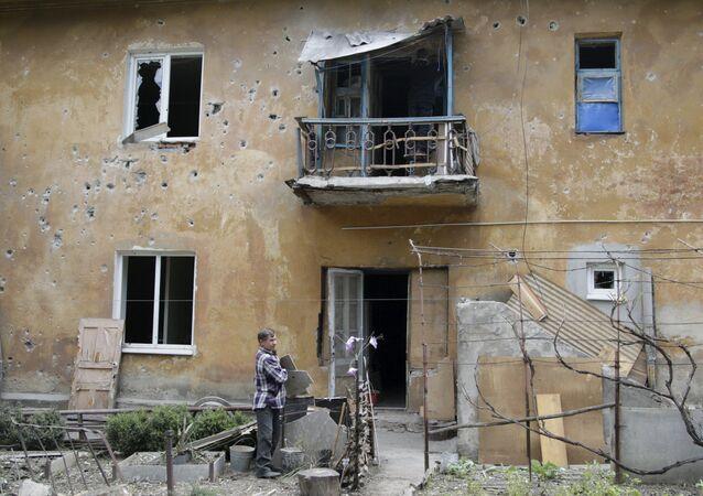 Edificio destruido en Donetsk