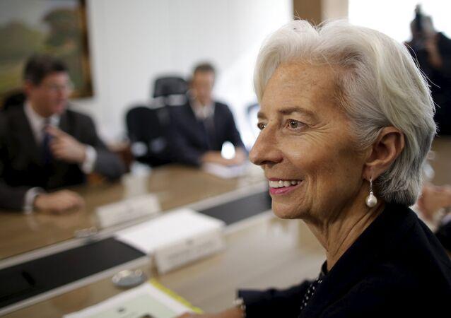La directora general del FMI, Christine Lagarde durante la reunión con ministro de Economía y Hacienda de Brasil, Joaquim Levy