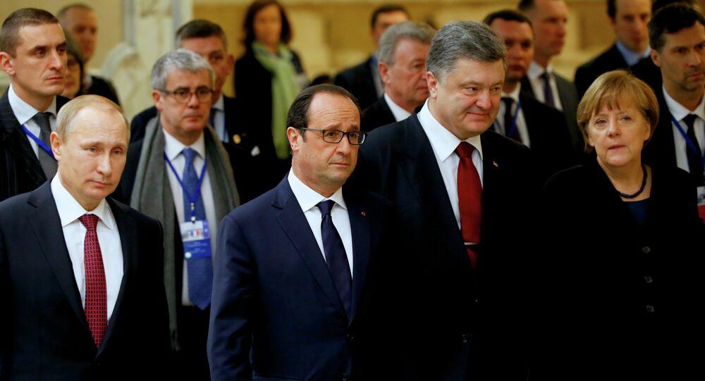 El presidente de Rusia, Vladímir Putin, el expresidente de Francia, François Hollande, el presidente de Ucrania, Petró Poroshenko y la canciller de Alemania, Angela Merkel en un encuentro del Cuarteto de Normandía