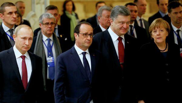 El Cuarteto de Normandía: el presidente de Rusia, Vladímir Putin, el presidente de Francia, François Hollande, el presidente de Ucrania, Petró Poroshenko y la canciller de Alemania, Angela Merkel - Sputnik Mundo