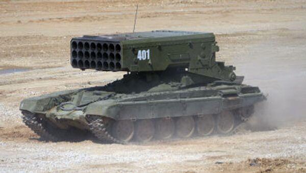 El lanzacohetes incendiario ruso TOS-1A Solntsepiok - Sputnik Mundo