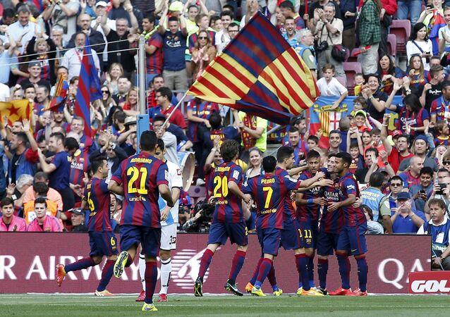 Barça celebra un gol de Messi durante el partido con La Coruña en Camp Nou, 23 de mayo de 2015