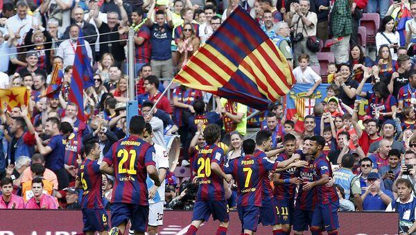 Barça celebra un gol de Messi durante el partido con La Coruña en Camp Nou, 23 de mayo de 2015 - Sputnik Mundo