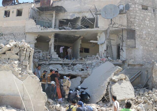 Situación en Alepo después de un ataque con bombas de barril