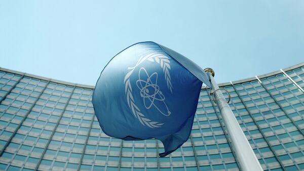 La bandera del Organismo Internacional de Energía Atómica - Sputnik Mundo