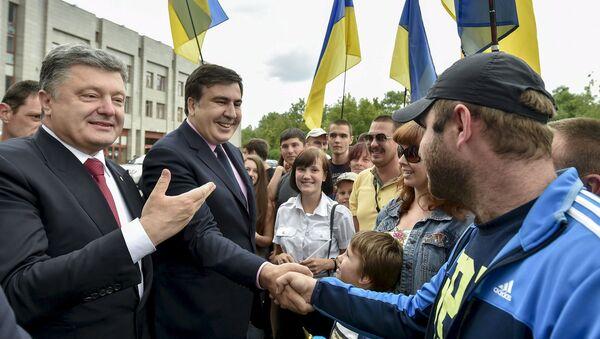 Petró Poroshenko y Mijaíl Saakashvili en Odesa - Sputnik Mundo