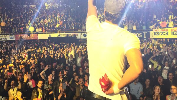 Enrique Iglesias performs while holding his bloodied and bandaged right hand behind his back during a concert in Tijuana - Sputnik Mundo