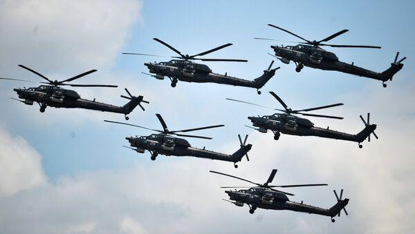 Helicópteros rusos durante el concurso Aviadarts (archivo) - Sputnik Mundo
