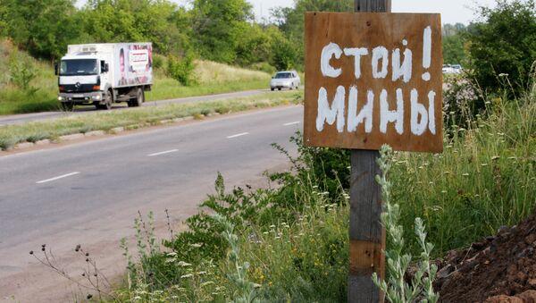 Advertencia de minas en la región de Donetsk (archivo) - Sputnik Mundo