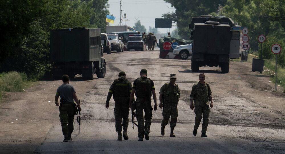 Miembros de las fuerzas armadas de Ucrania cerca de Marinka