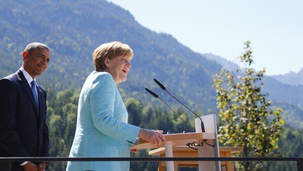 Barack Obama y Angela Merkel - Sputnik Mundo