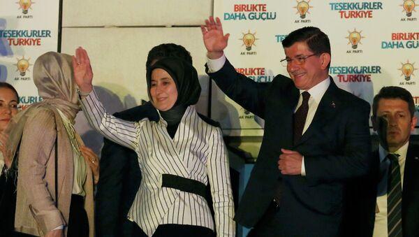 Primer ministro de Turquía Ahmet Davutoglu con su esposa Sare - Sputnik Mundo