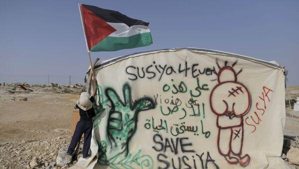Niño coloca una bandera palestina en una de las casas de Susia. 25 de mayo de 2015 - Sputnik Mundo