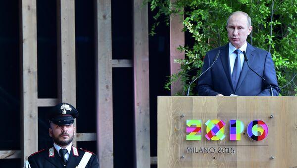 Presidente de Rusia, Vladímir Putin, en la inauguración del día de Rusia en la EXPO 2015 - Sputnik Mundo
