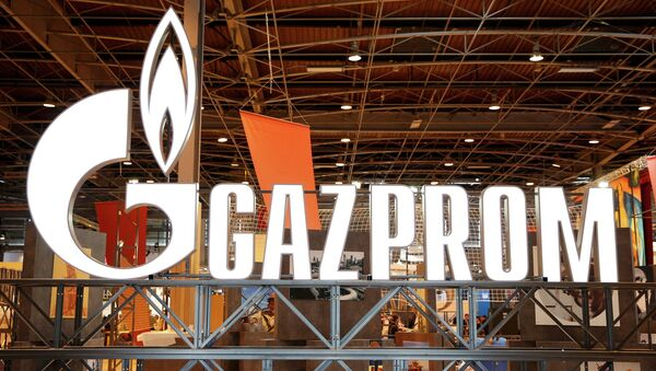 The logo of Gazprom is pictured at the 26th World Gas Conference in Paris, France, June 2, 2015. - Sputnik Mundo