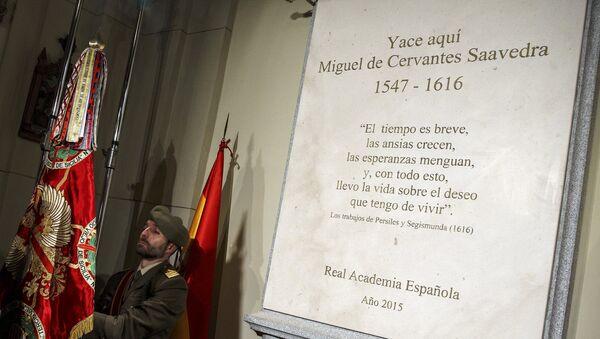 Monumento de Miguel Cervantes en Madrid - Sputnik Mundo