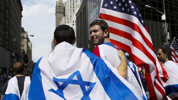 Banderas de Israel y de EEUU - Sputnik Mundo