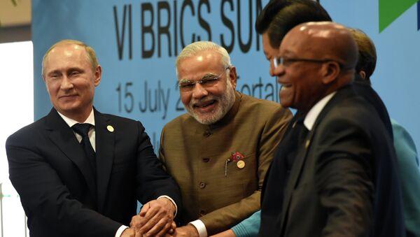 Líderes de los países BRICS, Vladímir Putin, Narendra Modi, Dilma Rousseff, Xi Jinping y Jacob Zuma - Sputnik Mundo