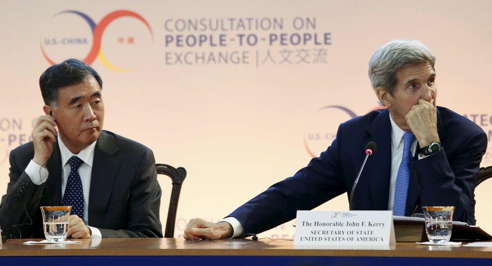 Viceprimer ministro de China, Wang Yang, y Secretario de Estado de EEUU, John Kerry