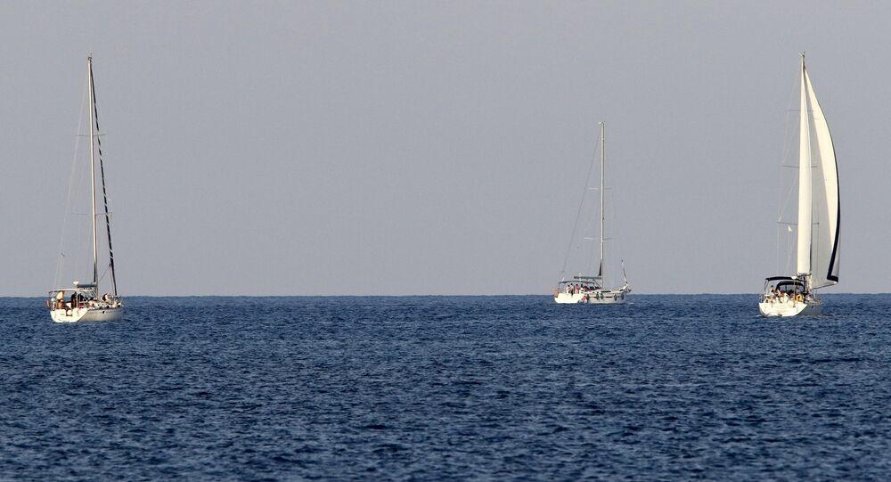 A small flotilla of three sailing boats carrying pro-Palestinian activists