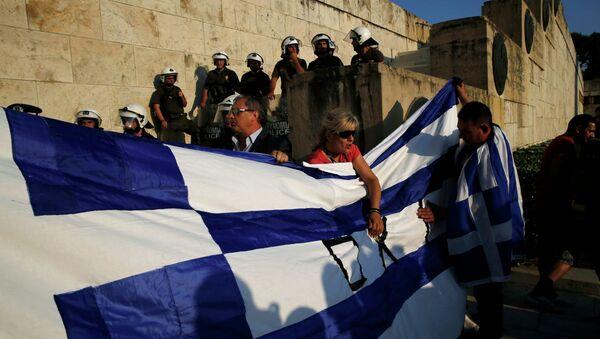 Protestantes estan en contra de las medidas de austeridad, Atenas, Grecia, el 29 de junio, 2015 - Sputnik Mundo
