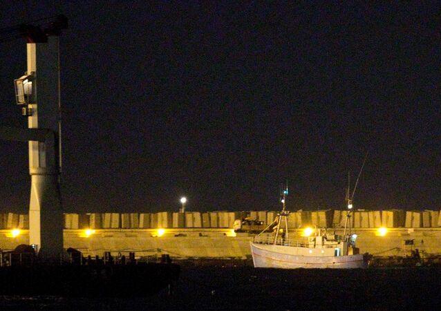 El barco Marianne de Gotemburgo en el puerto de Ashdod