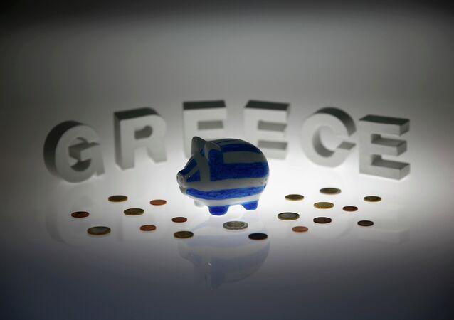 Hucha en los colores de bandera griega