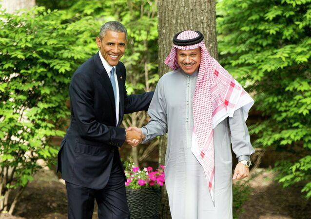 Barack Obama, presidente de EEUU, y Abdul Latif Bin Rashid Al Zayani, secretario general del Consejo de Cooperación para los Estados Árabes del Golfo