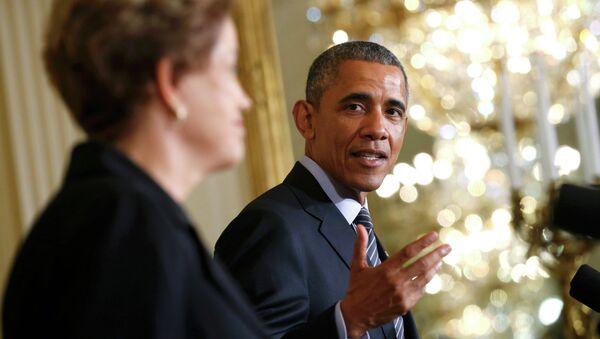 Presidente de EEUU, Barack Obama con la presidenta de Brasil, Dilma Rousseff - Sputnik Mundo