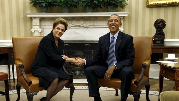 Presidenta de Brasil, Dilma Rousseff y presidente de EEUU, Barack Obama - Sputnik Mundo