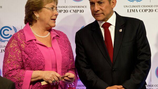 La presidenta de Chile,Michelle Bachelet, y el presidente de Perú,Ollanta Humala (archivo) - Sputnik Mundo