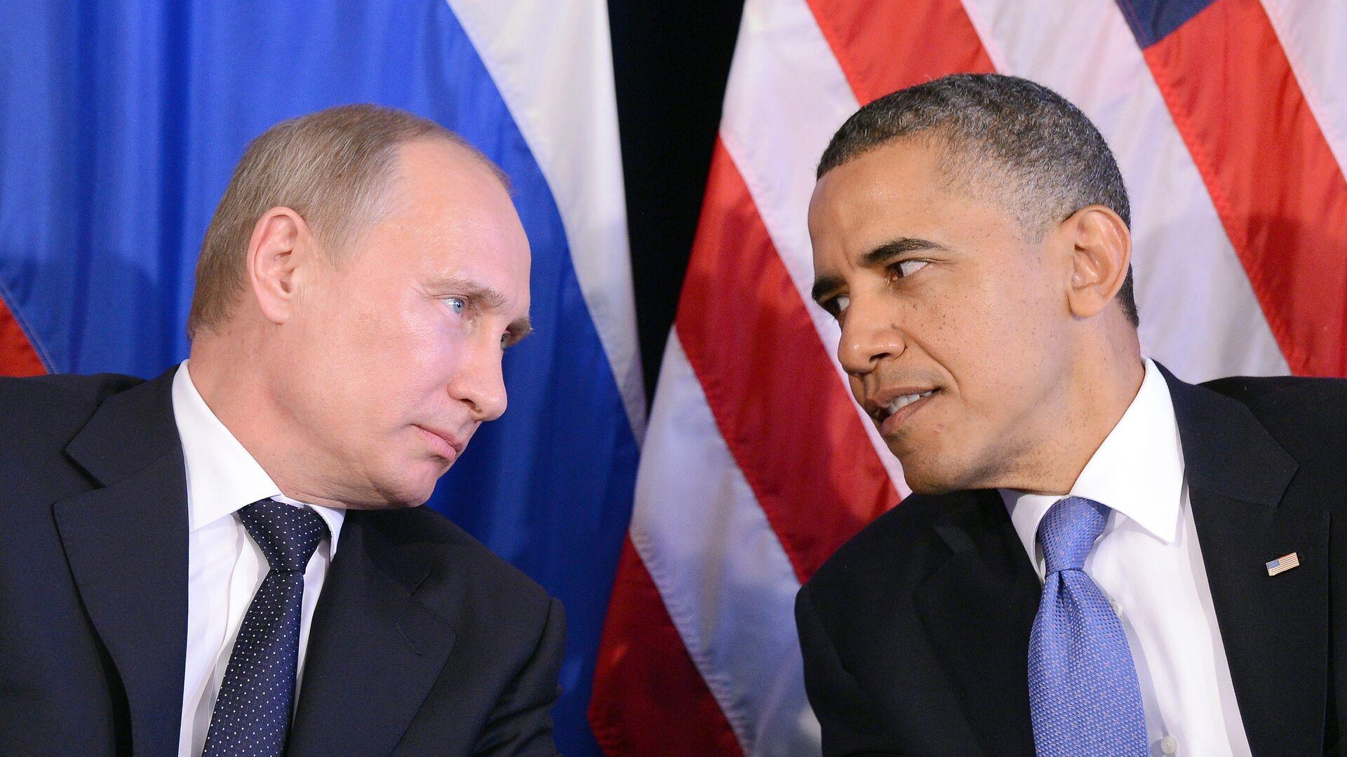 El presidente de Rusia, Vladímir Putin (izda.) y el expresidente de EEUU Barack Obama durante la cumbre del G20, el 18 de junio de 2012 - Sputnik Mundo, 1920, 15.06.2021