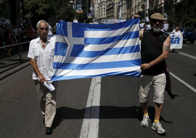 Manifestación en apoyo de Grecia en Madrid, el 5 de julio, 2015