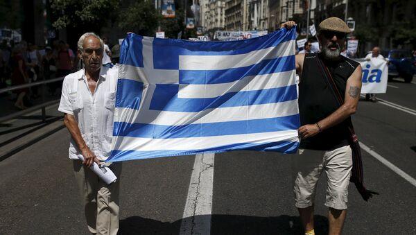 Manifestación en apoyo de Grecia en Madrid, el 5 de julio, 2015 - Sputnik Mundo