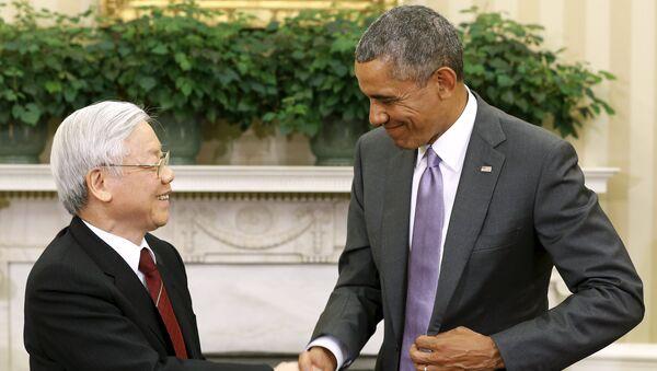 Presidente de EEUU, Barack Obama, y secretario general del Partido Comunista de Vietnam, Nguyen Phu Trong - Sputnik Mundo