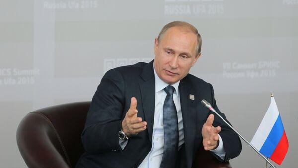 Vladímir Putin, presidente de Rusia, en la cumbre de BRICS en Ufá, Rusia, el 9 de julio, 2015 - Sputnik Mundo