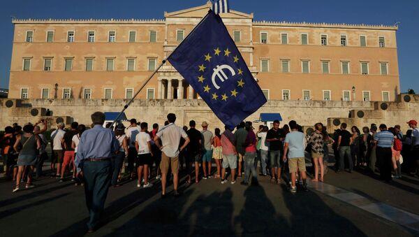 Protesta pro-euro frente al Parlamento de Grecia en Atenas - Sputnik Mundo