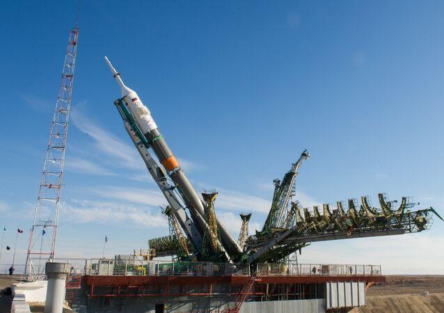 Cohete Soyuz-FG en el cosmódromo de Baikonur