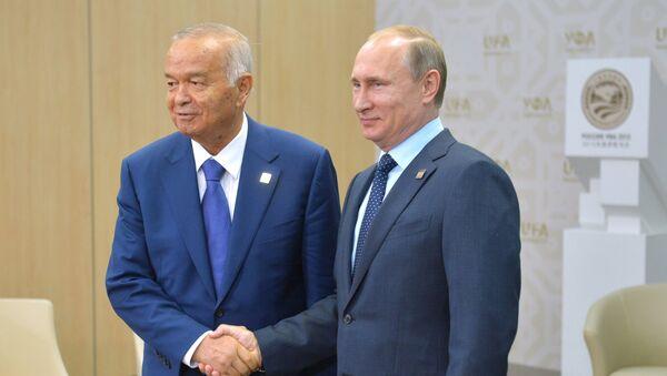 Islam Karímov, presidente de Uzbekistán, y Vladímir Putin, presidente de Rusia, durante la entrevista en Ufá, el 10 de julio, 2015 - Sputnik Mundo